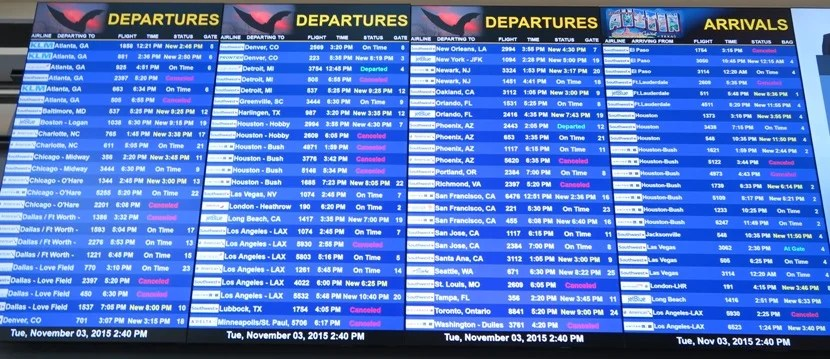 Still lots of cancelled and delayed flights Tuesday afternoon.