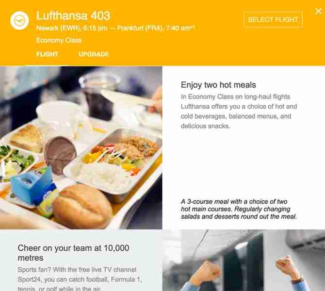 Get more info about upcoming Lufthansa flights within Google Flights.