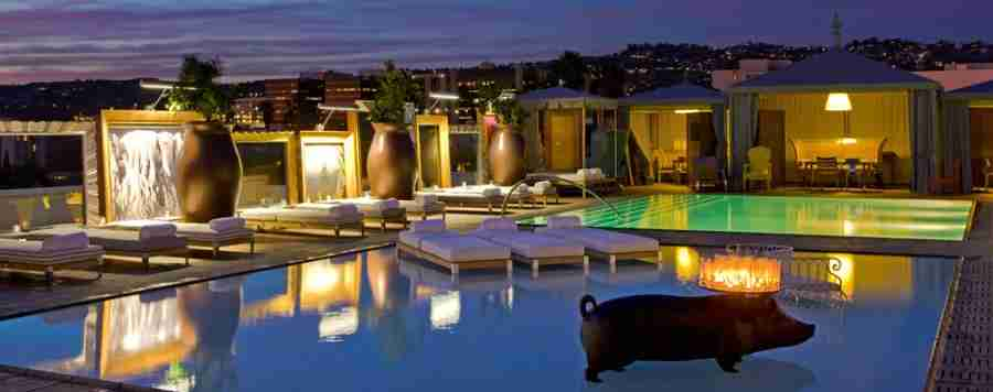 The pool area at the SLS Beverly Hills, an SPG Luxury Collection Hotel. (Photo courtesy SPG.)