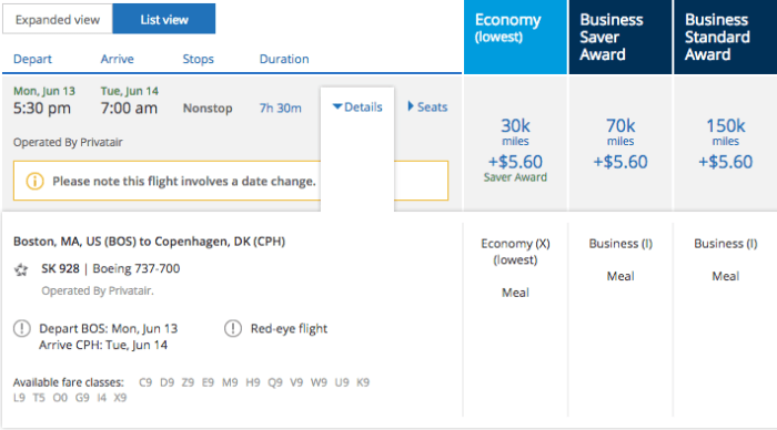 There's great business and economy availability on the Boston flight, too.
