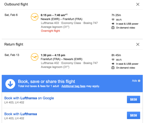You'll have the option to book through Google or Lufthansa after selecting a flight.