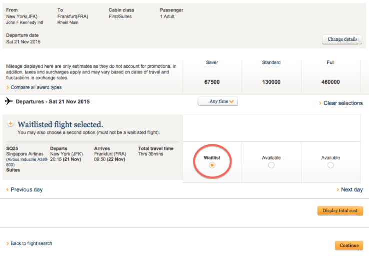 singapore airlines waitlist
