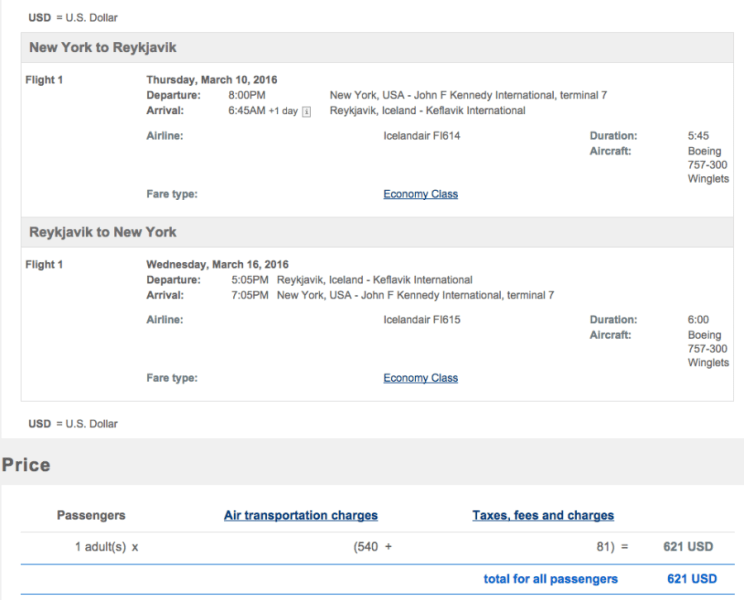 New York to Iceland for $621 round-trip.