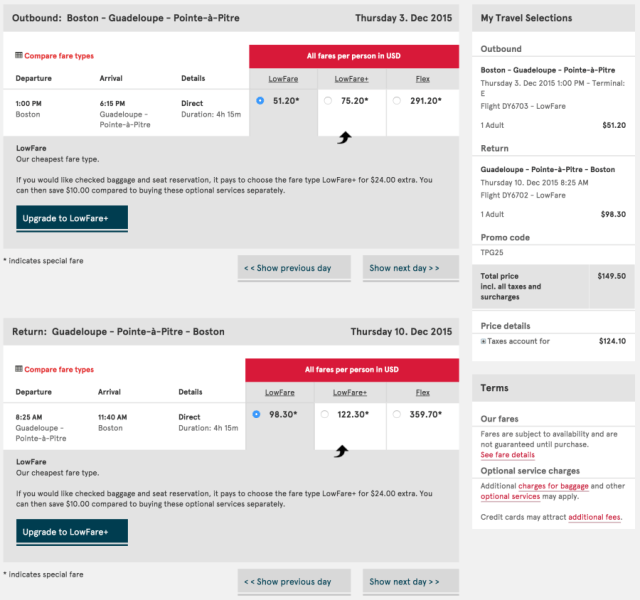Boston to Guadeloupe for $150 round-trip.