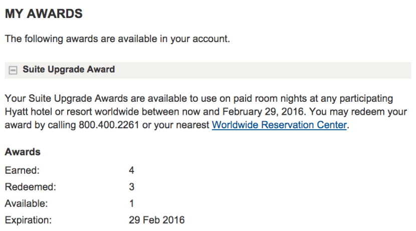 I only have one suite upgrade left — until I get four more in February, that is.