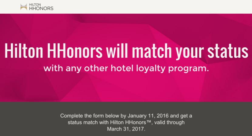 Hilton's status match website.