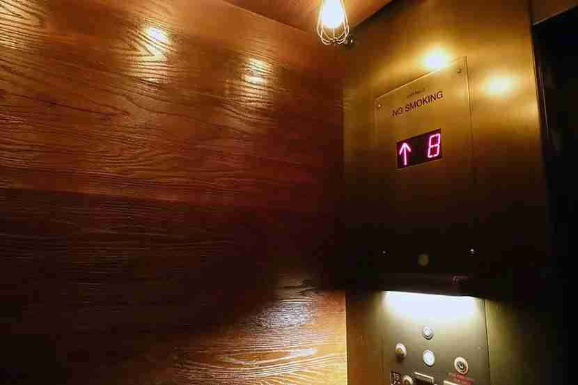 Even the elevators get the design-hotel treatment.
