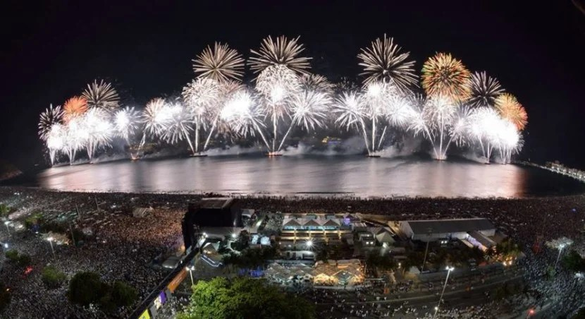 New Year's Eve on Copacabana beach in Rio is one of the world's wildest parties. Photo courtesy of Ismar Ingber on the Copacabana Reveillion Facebook page.