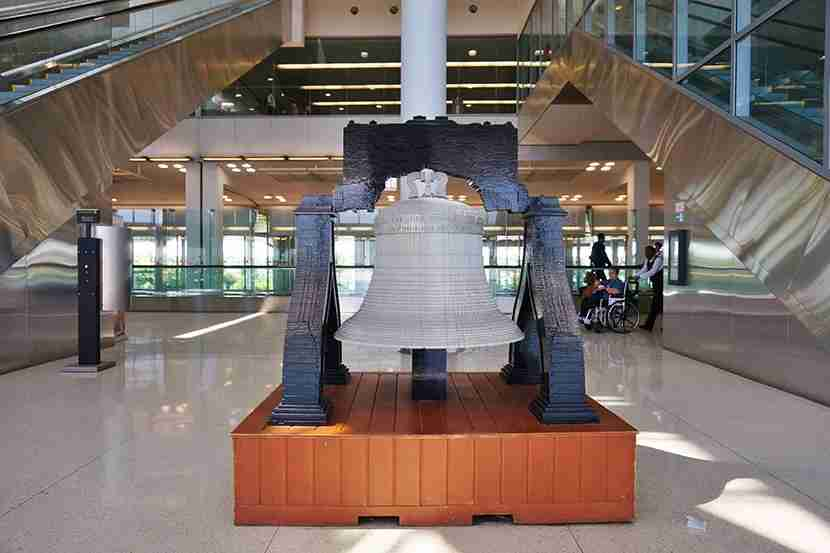 A Lego Liberty Bell at Philadelphia International Airport. Image courtesy of Shutterstock.