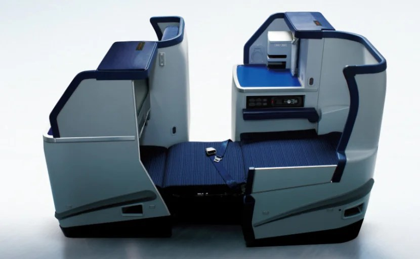 ANA's business-class seats are in a staggered configuration. Photo courtesy of ANA.