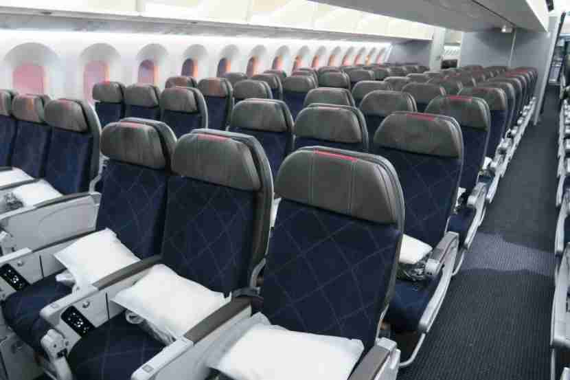 View of the Main Cabin Extra section and back towards standard economy seats.