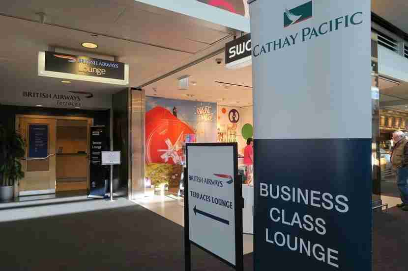 Cathay Pacific business class passengers - and Oneworld elite members - could use the British Airways Terraces lounge.