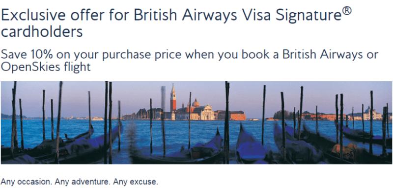 British Airways Chase Visa 10 off