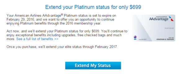 Extend Platinum status for $699? Nah, rather spend $769 and get a great trip out of re-qualifying!