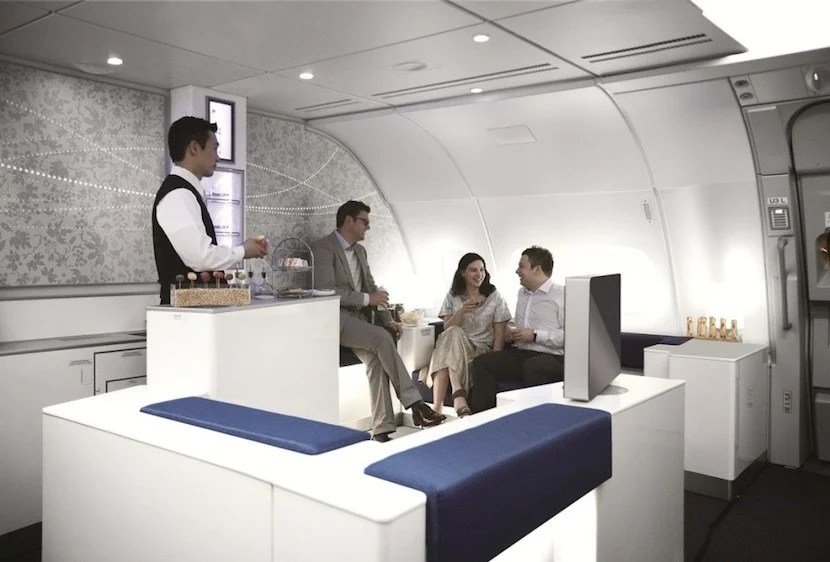 Business-class passengers can hang out in the A380's Celestial Bar. Photo courtesy of Korean Air.
