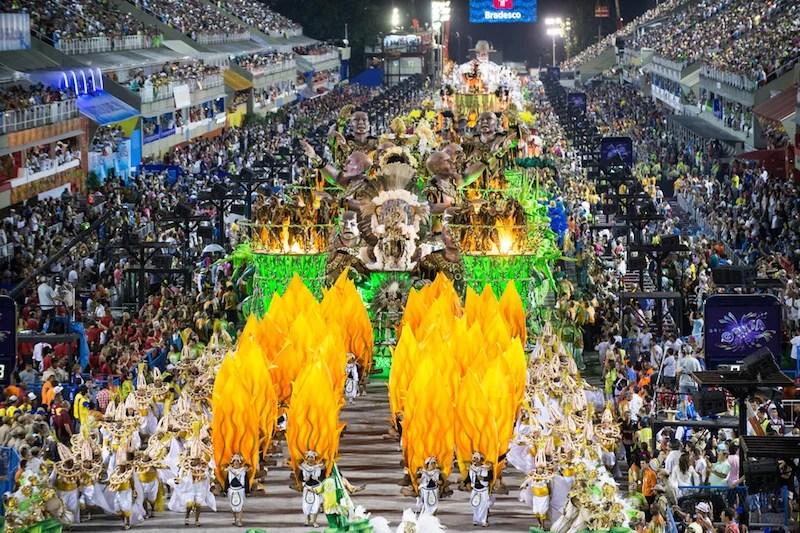 Millions of revelers descend on the Sambadrome for Carnival. Photo courtesy of Shutterstock.