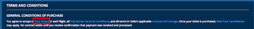 Delta displays the fare rules in the Terms and Conditions box at the bottom of your itinerary summary.