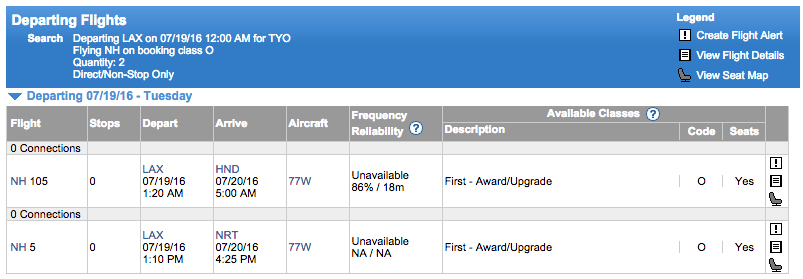 ExpertFlyer ANA availability