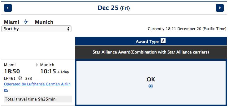 Lufthansa award on ANA site