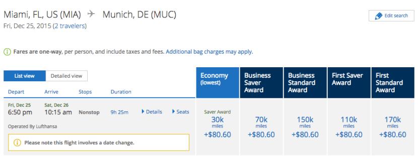 United.com Lufthansa award