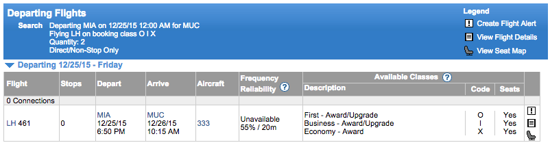 ExpertFlyer Lufthansa award inventory