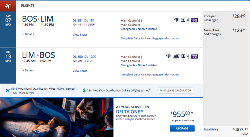 Boston (BOS) to Lima, Peru (LIM) for $407 on Delta.