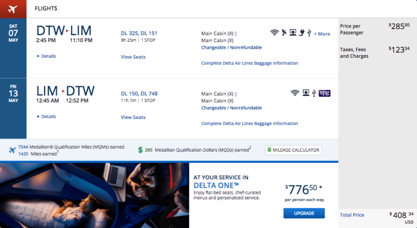Detroit (DTW) to Lima, Peru (LIM) for $408 on Delta.