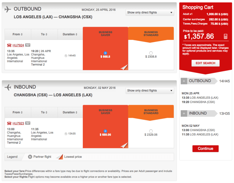 Los Angeles (LAX) to Changsha (CSX) for $1,358 on Hainan in Business.