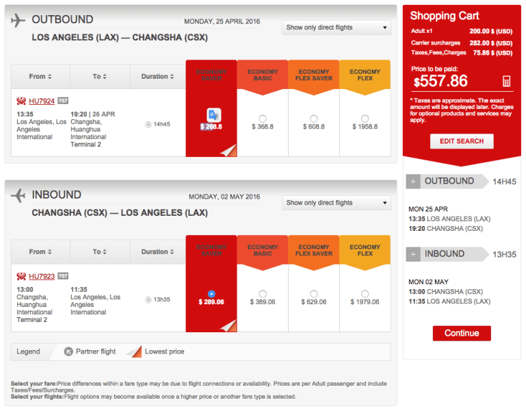 Los Angeles (LAX) to Changsha (CSX) for $558 on Hainan in Economy.