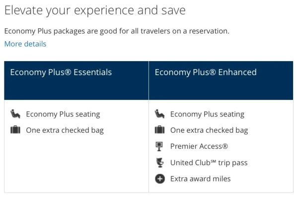 United's new travel packages.