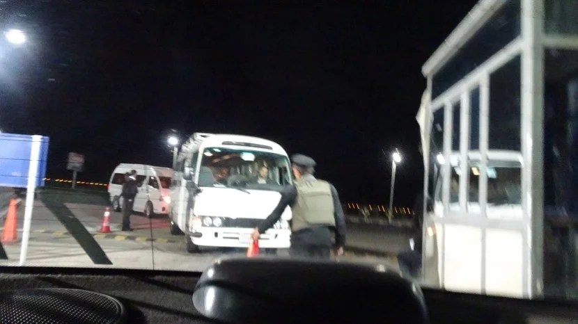 A secret shot from the back of the taxi, showing the outside security checkpoint.