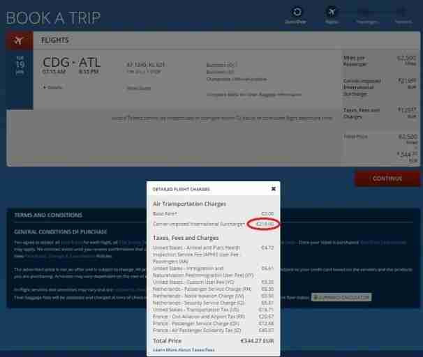 Delta adds fuel surcharges to award flights originating in Europe, in this case 219 EURO or about $239.