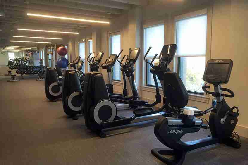 The well-appointed fitness center on the sixth floor.