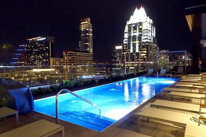 The Westin Austin Downtown's scenic pool deck.