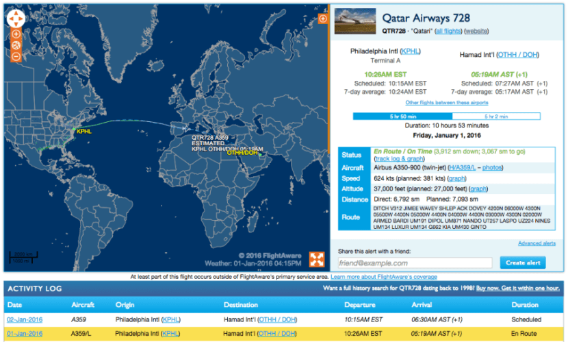 First scheduled A350 flight from the US.