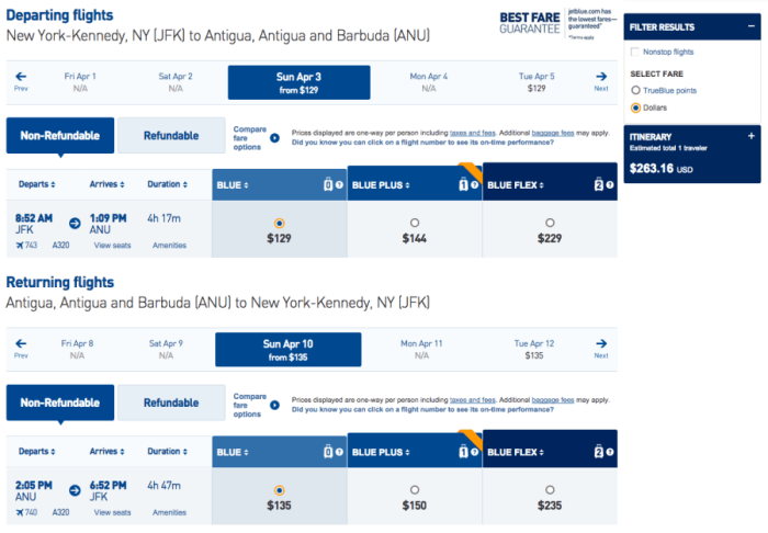 New York (JFK) to Antigua and Barbuda (ANU) for $263 on JetBlue in April.