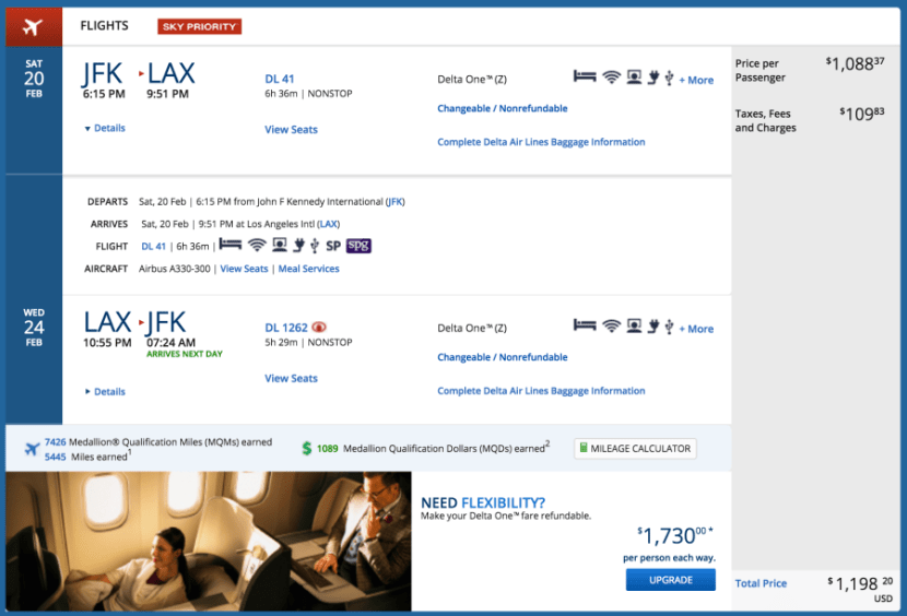 JFK to LAX and back on the A330 for $1,198 in Delta One.