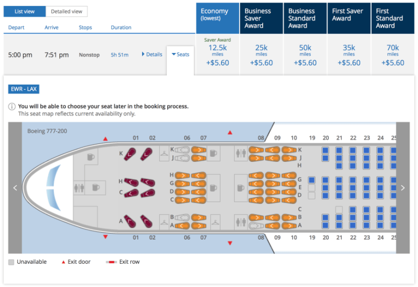 United 777-200ER seatmap.