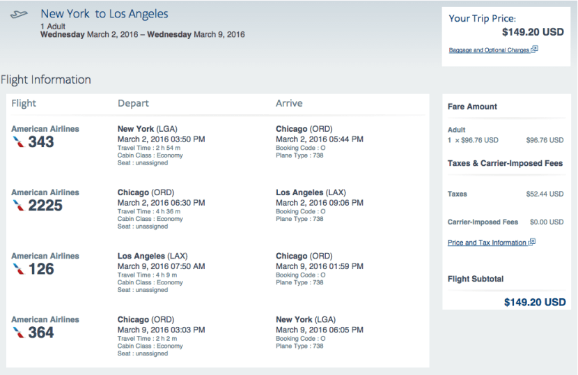 New York (LGA) to Los Angeles (LAX) for $149 round-trip on American Airlines.