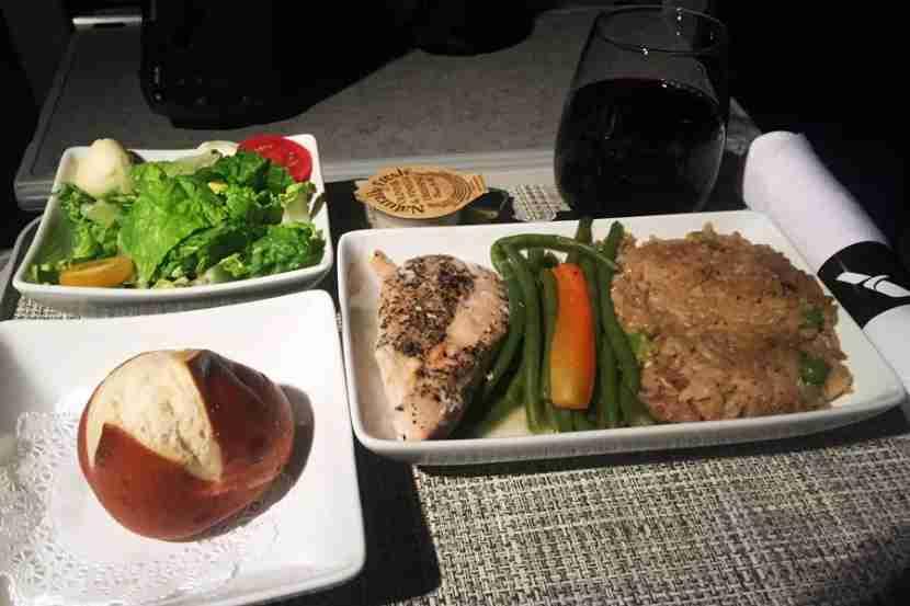 Mushroom chicken for dinner service on JFK-MIA on the 767-300.