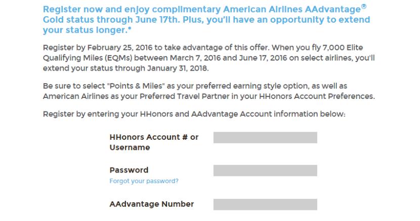 AA Hilton status text
