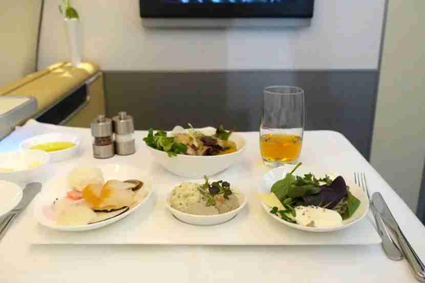 Lufthansa appetizer sampler.