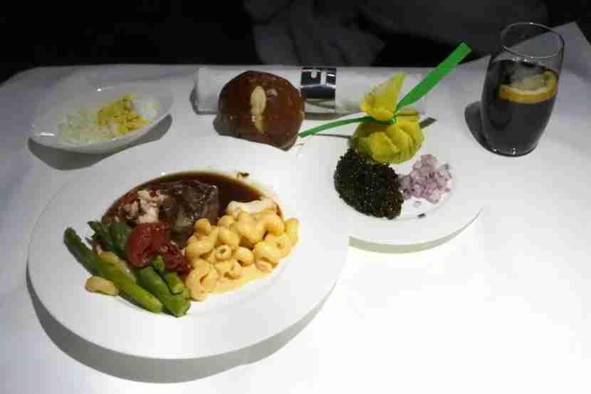 Steak and Caviar in Lufthansa first class.