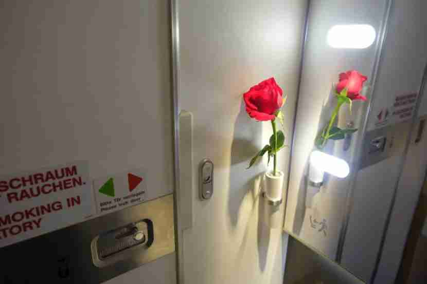 Lufthansa even has roses in the bathroom!