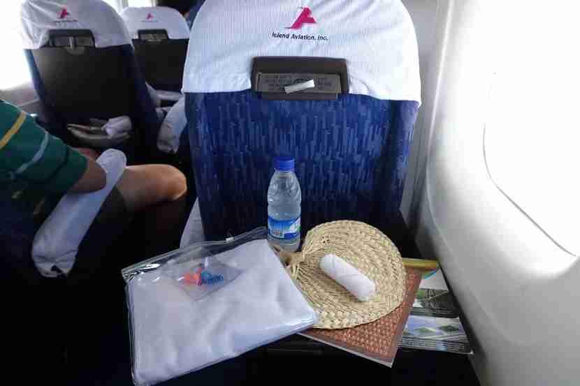The in-flight amenities.
