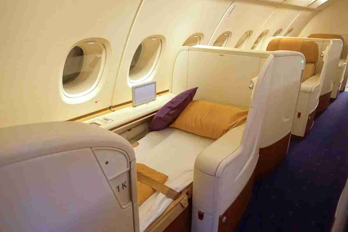 A Thai Airways first-class window seat.