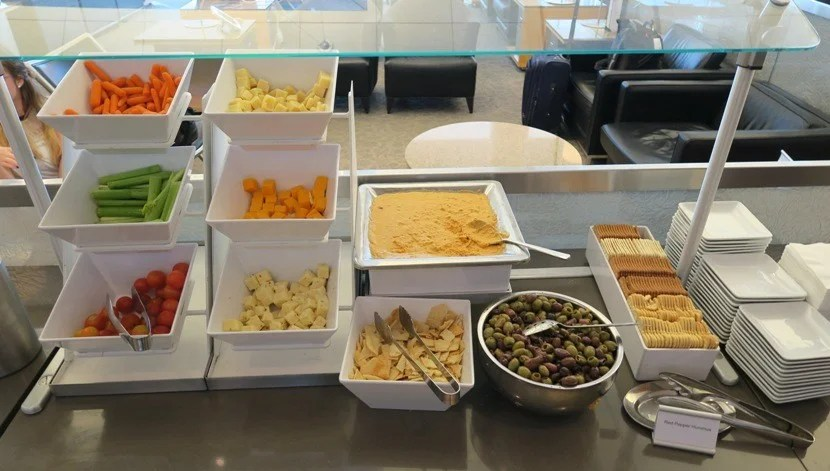 The snack spread at the DFW Terminal D Admiral's Club.