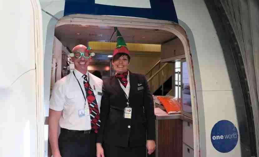 The British Airways flight attendants were feeling the Christmas spirit.