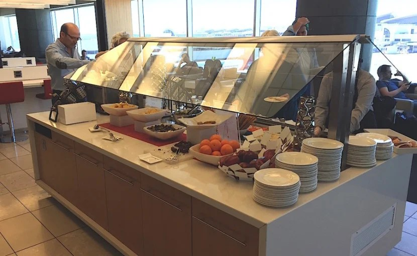 The food buffet in the lounge. Small but decent.