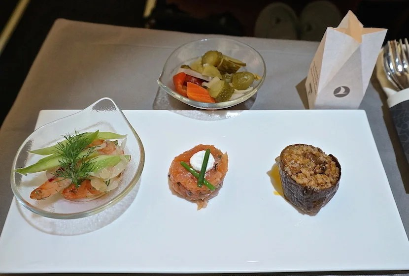 Prawns, salmon tartare and eggplant dolma on Turkish Airlines, one of the only airlines where I'll consume seafood.